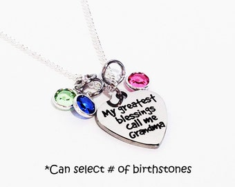 Mothers Day Gift for Grandma, Grandma Necklace, Grandma Gift, Grandma Jewelry, Birthstone Necklace for Grandma, Birthstone Necklace, Grandma