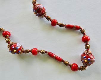 Red Wedding Cake Beads with Rhinestone Clasp Necklace