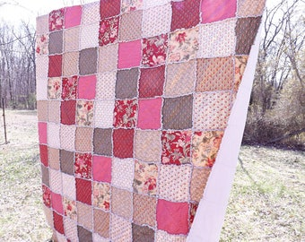 Rag Quilt - Queen Quilt - Cottage Chic Floral Quilt - maroon red, sage green, ecru, dusty pink - Gift For Her - Mother's Day