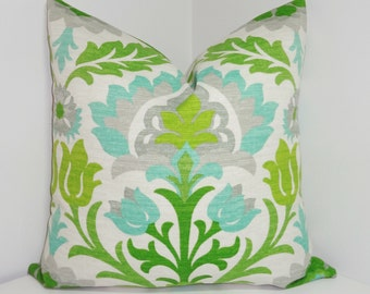 OUTDOOR Pillow Cover Bright Colorful Waverly Santa Maria Mint Julip Lime Green Aqua Floral Pillow Cover 18x18