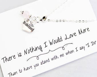 Bridesmaid Gift Necklace - Wedding Jewelry - Personalized Bridesmaid Necklaces  - Bridal party Gift SCC883