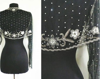Vintage Black Beaded Bolero Jacket | rhinestones