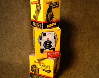 Vintage Eastman Kodak Boxes - Brownie - Bull's-Eye - Hawkeye - Duaflex for Display or Addition to Collection