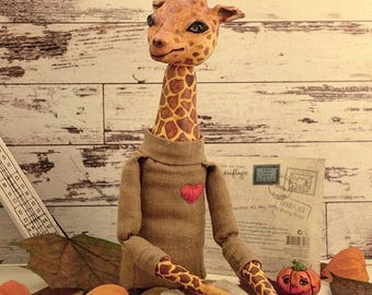 Giraffe one of a kind toy, toy handmade, collectible toy, character, original gift, boudoir doll