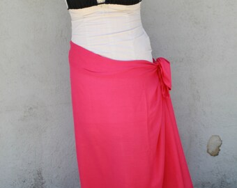 Bright, dark, hot pink, fuchsia color-Pareo-solid color-full  and halfsized-rayon- sarong-, pareau