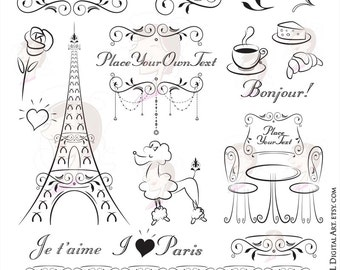 Paris Theme Party Invitation Clipart - features handdrawn Eiffel Tower, Bonjour, French Poodle, French Cafe - FREE Commercial Use 10752