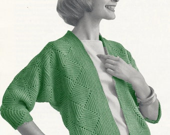 Vintage Crochet Cardigan Pattern Size Small and Medium