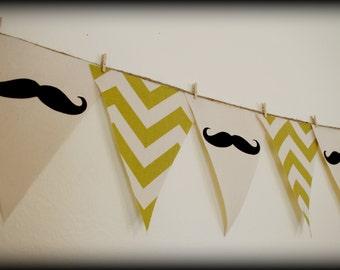 Green Chevron print Mustache Banner-Little Man Party-Party Banner -Green Chevron-Mustache Banner-Mustache Party-Mustache Theme-Baby Shower