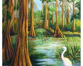 Louisiana Cypress Swamp Waterway, Egret, Trees Art Print from Original Artwork 16X20