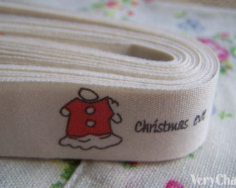 5.46 Yards (5 meters) Christmas Time Print Cotton Ribbon Label String A2603