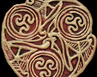 Celtic Wheel I - Cast Paper - Irish Art - Scottish - Celtic Knot Work - Spiral - Triskelion - Triskele