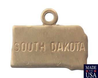 Raw Brass Tiny South Dakota State Charm Drops (2) chr202S
