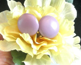 Lavender Vintage Clip On Earrings Round Purple Lucite Earrings 1960 Mauve Clip Earrings Costume Jewelry Free Shipping In USA