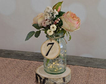Rustic Wedding Tree Slice Table Numbers~ Spring Wedding ~ DIY Wedding ~ Mason Jar Table Numbers ~ Rustic Table Number ~ Wedding Table Number