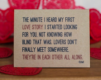 Lovers Card - Rumi Quote I Love You Romantic Valentine Card and Envelope