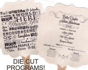 "DIE CUT Fan Wedding Program Shimmer Quartz (White) 7 3/4"" - 2 Sheets"