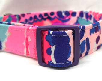 Lilly Pulitzer Fabric Dog Collar Girl Purple Colony Coral Shell Out Boy