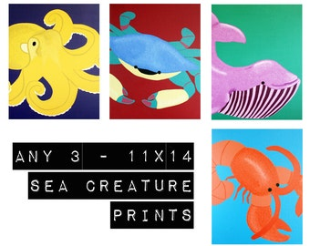 Sea Creature Prints baby nursery art. Any 3 - 11x14 Modern prints of ocean animals, underwater theme, beach for kids rooms and bathrooms