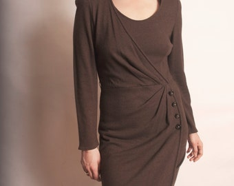 Vintage Valentino Brown Wool Long Sleeve Pencil Dress