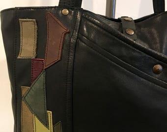 OOAK Handmade Recycled Black Leather Tote Bag