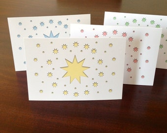 Star Note Cards, White