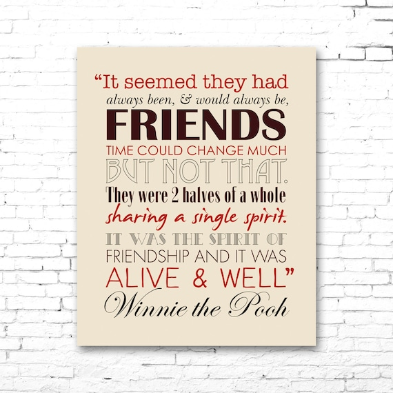 Pooh Quotes About Friendship: WINNIE The POOH PRINTABLE Friendship Quote Artwork Red