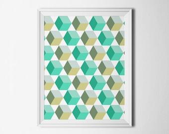 Digital print turquoise Home decor Wall art geometric Pattern print Instant download Printable art Modern print Dorm decor wall hanging