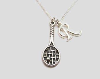 Tennis Racket Necklace Personalized Sports Necklace Initial Necklace Sports Jewelry Tennis Racket Jewelry Team Gift Ideas Tennis Player Gift