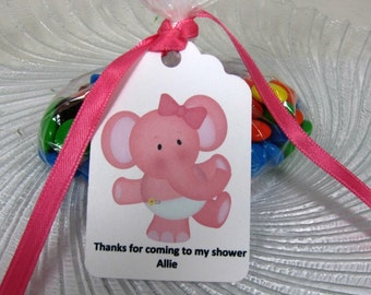Baby shower tags, pink elephant baby tags, pink elephant shower tags,personalized baby shower tags, set of 12