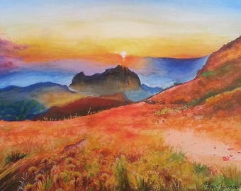 Sunset in the mountain, watercolor