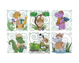 Safari Animals Combo Counted Cross Stitch PDF Pattern