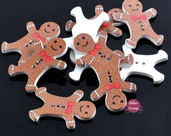10 buttons wooden gingerbread man gingerbread Christmas - 2 hole 3 cm