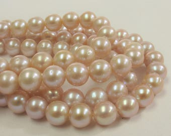 7.5-8 mm AAA Natural Pink Potato Freshwater Pearl Beads, Genuine Natural Pearls, Natural Freshwater Pearls, Cultured Pearl Beads (532-PPK08)