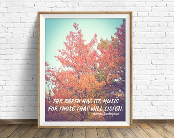 "quotes, quote print, inspirational quote, large art, wall art, instant download, printable art, nature, nature quotes, photo, art - ""Music"""