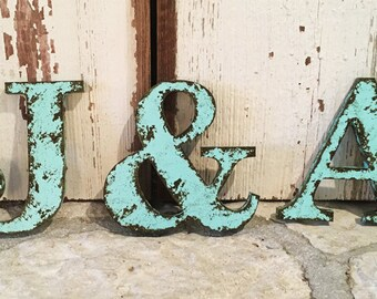 "Rustic Letter 9.5"" Tall Name Personalize Ampersand Cottage Country Style Home Decor shabby chic Joanna Gaines Alphabet Photo prop Wedding"