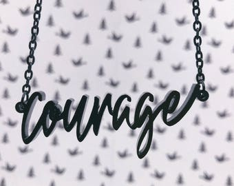Courage Acrylic Laser-cut Typography Necklace
