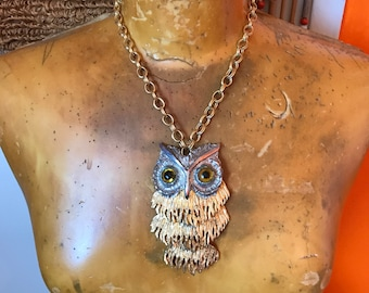 Huge Owl Necklace- Articulated Owl Pendant- Vintage Avant Garde- Silver and Gold- 70s Hippie Boho- 1970s Jewelry- Large Pendant Necklace