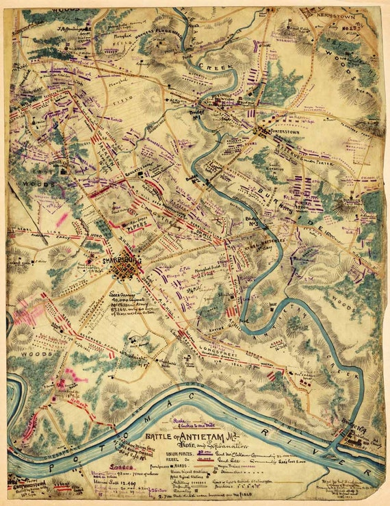 antique map battle of antietam 1862 civil war