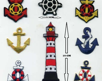 8 badges sailor collection or for other applique anchor, rudder