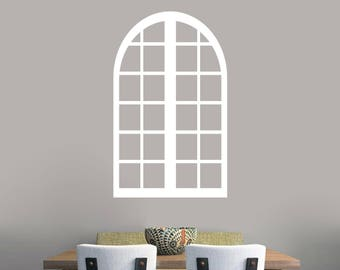 Tall Arched Window Frame - Dining Room Kitchen Family and Living Room Entryway Wall Decals