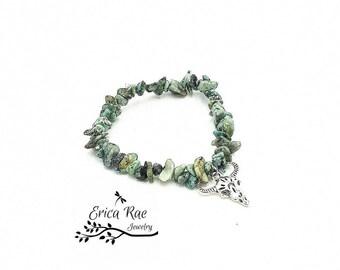 African turquoise bracelet, turquoise chip bracelet, stretch bracelet, steer head charm bracelet, charm bracelet, boho jewelry
