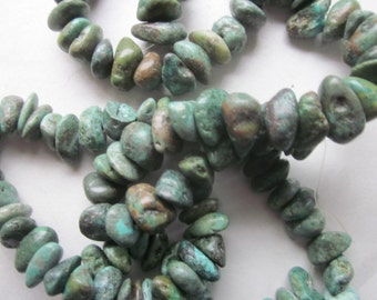 Green Turquoise Chip Beads 7-14mm 24 Beads