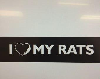 I Love My Rats Car Decal