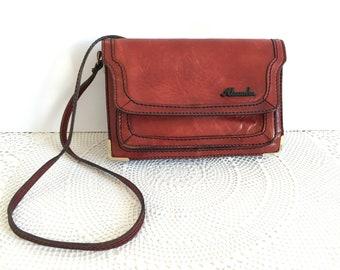 Vintage genuine leather women bag - Genuine leather shoulder bag - Vintage shoulder bag -Retro leather bag - Vintage women handbag - red bag