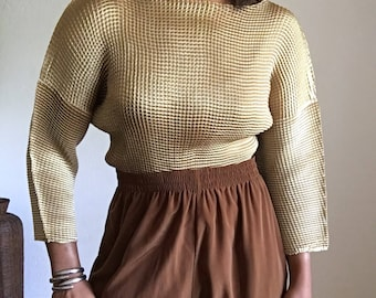 vintage box pleat micropleat gold top