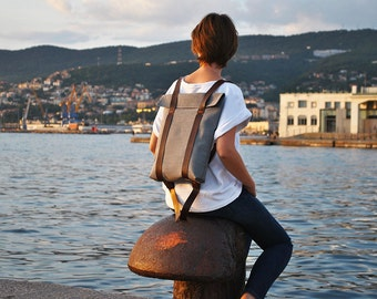 Lightweight safe backpack, leather canvas rucksack for him or her, custom rucksack 201