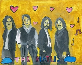 The Beatles Framed in Gold Original painting Acrylic on canvas9 x 12i