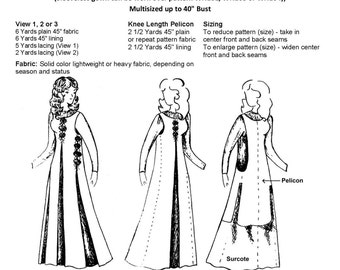 WN102  - 10th - 16th C. Surcote & Pelicon Sewing Pattern by Wingeo