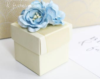 Elegant Ivory/Cream and Light Blue Flower Favor/Favour Box for Wedding/Party