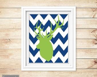 Deer Buck Silhouette Head Navy Chevron Lime Green Nursery Wall Art Bedroom Boy's Room Decor Printable 11x14 Digital JPG Instant Download (9)